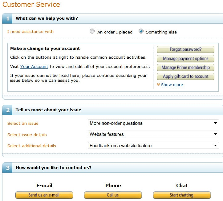 amazon customer service form