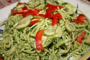 scape pesto with pasta