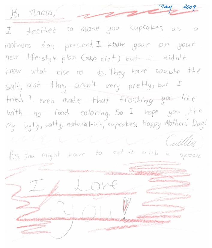 child's funny mother's day note