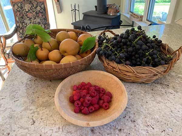 apples, grapes, raspberries