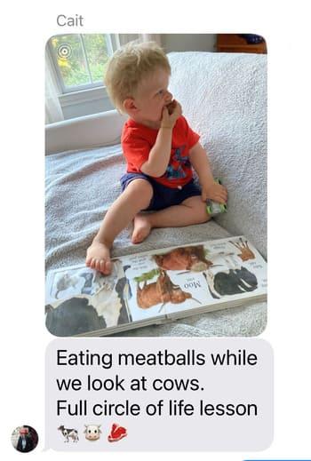 toddler eating meatballs